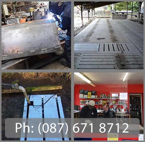 Photos of our welding premises in Lissane Business Park, Clarecastle, Ennis, Co. Clare and photos of our installed safety grids for agitation points and manhole covers for agitation points in Co. Clare