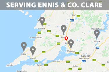 We serve all rural areas in Co. Clare, including Ennis, Killaloe, Shannon, Kilrush, Kilkee and Lahnch. Visit our Google Maps page to see the areas we serve in Co. Clare. Lissane Engineering service Co. Clare